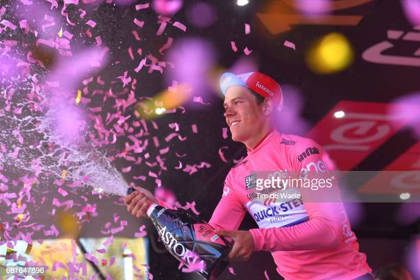 100th Tour of Italy 2017 / Stage 5 Podium / Bob JUNGELS Pink Leader Jersey/ Celebration / Champagne/ Perada Messina / Giro /