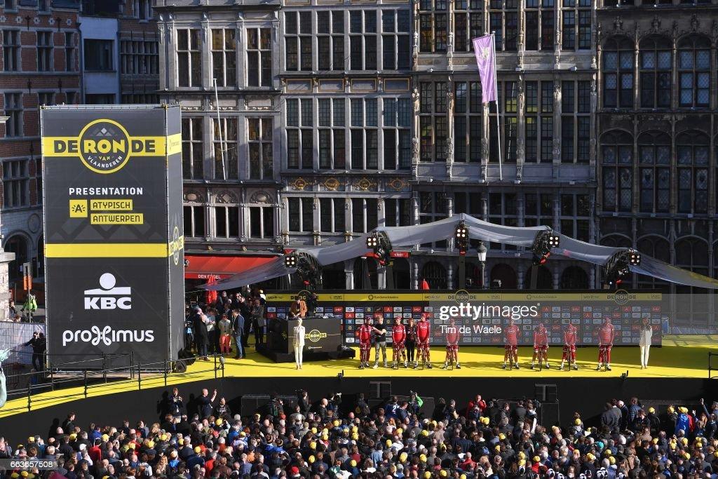 101st Tour of Flanders 2017 / Men Start / Podium / Alexander KRISTOFF (NOR)/ Tony MARTIN (GER)/ Reto HOLLENSTEIN (SUI)/ Baptiste PLANCKAERT (BEL)/ Rick ZABEL (GER)/ Marco HALLER (AUT)/ Michael MORKOV (DEN)/ Nils POLITT (GER)/ Team Katusha - Alpecin (SUI)/ Grote Markt / Antwerpen City / Public / Fans/ Antwerpen - Oudenaarde (260km)/ Men / Ronde Van Vlaanderen / Tour of Flanders /
