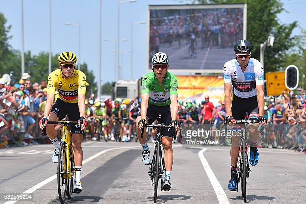 102nd Tour de France / Stage 2 DENNIS Rohan Yellow Leader Jersey/ Start Departure/ MARTIN Tony Green Points Jersey/ DOMOULIN Tom White Young Jersey/...