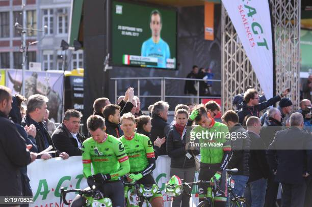 103rd LiegeBastogneLiege 2017 / Men Black armbands in memory Michele SCARPONI who died in an accident on training the day before / Davide FORMOLO /...