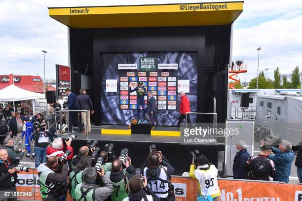 103rd LiegeBastogneLiege 2017 / Men Podium / Daniel MARTIN / Alejandro VALVERDE / Michal KWIATKOWSKI / Celebration / Press Media / Liege Liege / LBL...