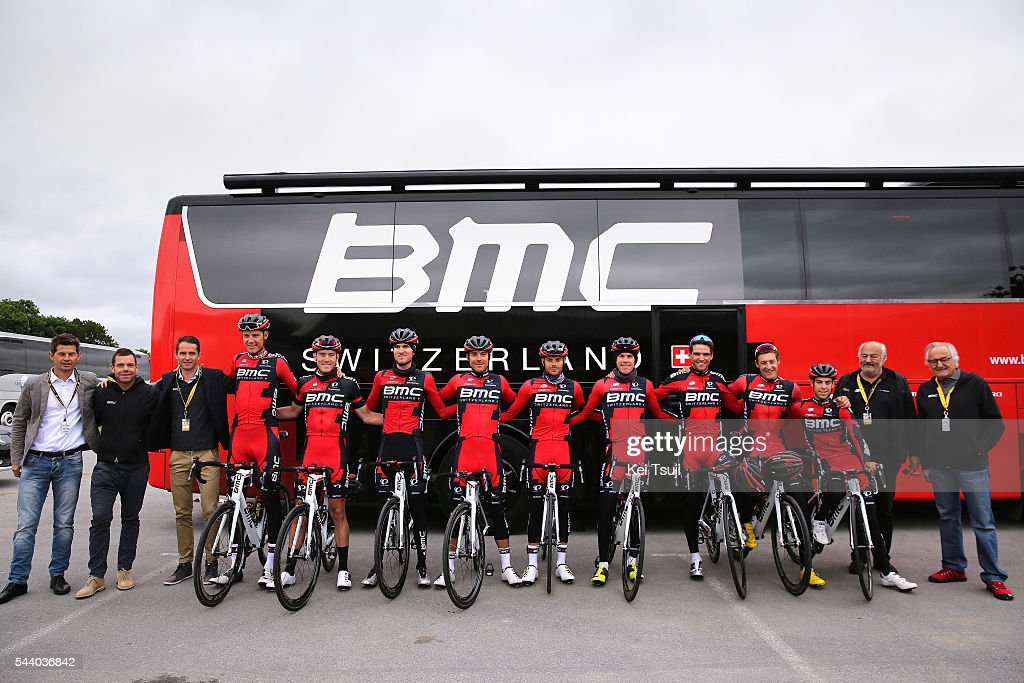 103rd Tour de France 2016 / PC BMC Racing Team Cadell EVANS (Aus) / Jim OCHOWICZ (USA)/ Richie PORTE (AUS)/ Brent BOOKWALTER (USA)/ Marcus BURGHARDT (Ger)/ Damiano CARUSO (ITA)/ Rohan DENNIS (AUS)/ Amael MOINARD (FRA)/ Michael SCHAR (SUI)/ Greg VAN AVERMAET (BEL)/ Tejay VAN GARDEREN (USA)/ Bus / Press Conference BMC Racing Team (USA) / TDF /