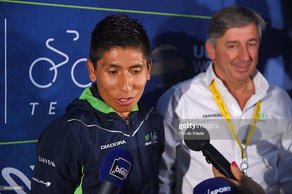 103rd Tour de France 2016 / PC Team Movistar Nairo QUINTANA (COL)/ Eusebio UNZUE (ESP) Team Manager / Press Conference Team Movistar (ESP) / TDF /