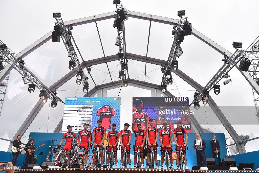 103rd Tour de France 2016 / Team Presentation / Richie PORTE (AUS)/ Tejay VAN GARDEREN (USA)/ Greg VAN AVERMAET (BEL)/ Brent BOOKWALTER (USA)/ Marcus BURGHARDT (GER)/ Damiano CARUSO (ITA)/ Amael MOINARD (FRA)/ Rohan DENNIS (AUS)/ Michael SCHAR (SWI)/ TDF /