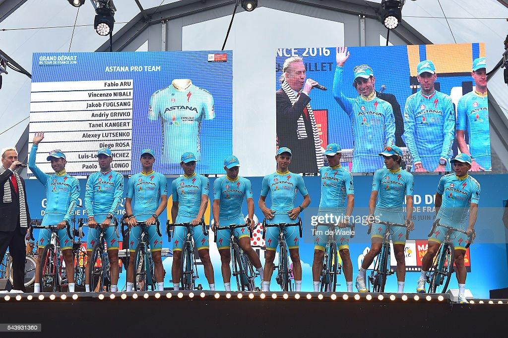 103rd Tour de France 2016 / Team Presentation Team ASTANA PRO TEAM (KAZ)/ Fabio ARU (ITA)/ Vincenzo NIBALI (ITA)/ Jacob FUGLSANG (DNK)/ Tanel KANGERT (EST)/ Alexey LUTSENKO (KAZ)/ Luis LEON SANCHEZ (ESP)/ Diego ROSA (ITA)/ Andriy GRIVKO (UKR)/ Paolo TIRALONGO (ITA)/ TDF /