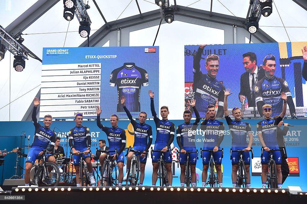 103rd Tour de France 2016 / Team Presentation Team ETIXX - QUICK-STEP (BEL)/ Julian ALAPHILIPPE (FRA)/ Iljo KEISSE (BEL)/ Marcel KITTEL (GER)/ Daniel MARTIN (IRL)/ Tony MARTIN (GER)/ Maximiliano ARIEL RICHEZE (ARG)/ Fabio Sabatini (ITA)/ Petr VAKOC (CZE)/ Julien VERMOTE (BEL)/ TDF /