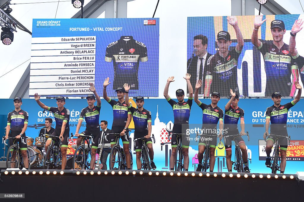 103rd Tour de France 2016 / Team Presentation Team FORTUNEO - VITAL CONCEPT (FRA)/ Eduardo SEPULVEDA (ARG)/ Chris ANKER SORENSEN (DEN)/ Florian VACHON (FRA)/ Anthony DELAPLACE (FRA)/ Vegard BREEN (NOR)/ Pierre Luc PERICHON (FRA)/ Armindo FONSECA (FRA)/ Brice FEILLU (FRA)/ Daniel MCLAY (GBR) / TDF /