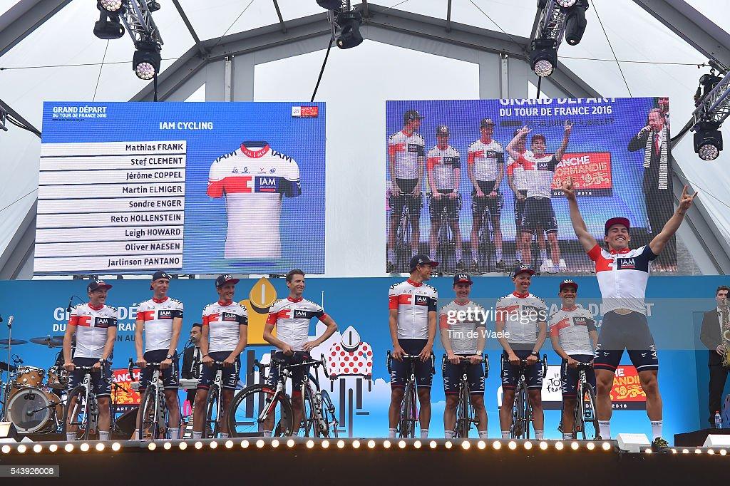 103rd Tour de France 2016 / Team Presentation Team IAM CYCLING (SUI)/ Mathias FRANK (SWI)/ Jarlinson PANTANO (COL)/ Oliver NAESEN (BEL)/ Sondre HOLST ENGER (NOR)/ Reto HOLLENSTEIN (SWI)/ Martin ELMIGER (SWI)/ Stef CLEMENT (NED)/ Jerome COPPEL (FRA)/ Leigh HOWARD (AUS) / TDF /