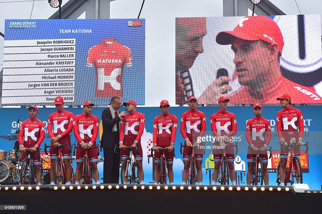 103rd Tour de France 2016 / Team Presentation Team KATUSHA (RUS)/ Joaquim RODRIGUEZ OLIVER (ESP)/ Alexander KRISTOFF (NOR)/ Alberto LOSADA ALGUACIL (ESP)/ Angel VICIOSO ARCOS (ESP)/ Marco HALLER (AUT)/ Michael MORKOV (DEN)/ Jurgen VAN DEN BROECK (BEL)/ Ilnur ZAKARIN (RUS)/ Jacopo GUARNIERI (ITA)/ TDF /