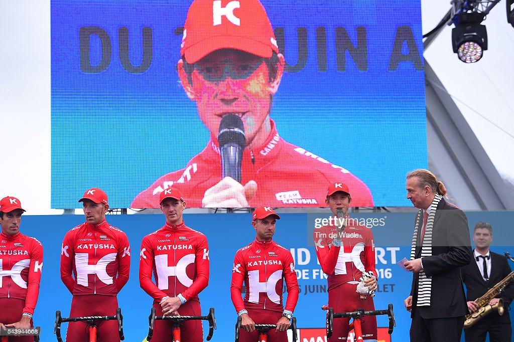 103rd Tour de France 2016 / Team Presentation Team KATUSHA (RUS)/ Alberto LOSADA ALGUACIL (ESP)/ Angel VICIOSO ARCOS (ESP)/ Marco HALLER (AUT)/ Michael MORKOV (DEN)/ Jurgen VAN DEN BROECK (BEL)/ Ilnur ZAKARIN (RUS)/ Jacopo GUARNIERI (ITA)/ TDF /
