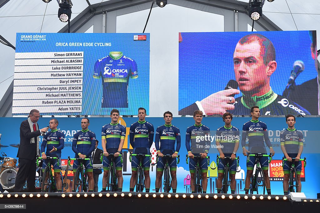 103rd Tour de France 2016 / Team Presentation Team ORICA GREENEDGE (AUS)/ Michael MATTHEWS (AUS)/ Simon GERRANS (AUS)/ Adam YATES (GBR)/ Michael ALBASINI (SWI)/ Christopher JUUL JENSEN (DEN)/ Daryl IMPEY (RSA)/ Luke DURBRIDGE (AUS)/ Ruben PLAZA MOLINA (ESP)/ Mathew HAYMAN / TDF /