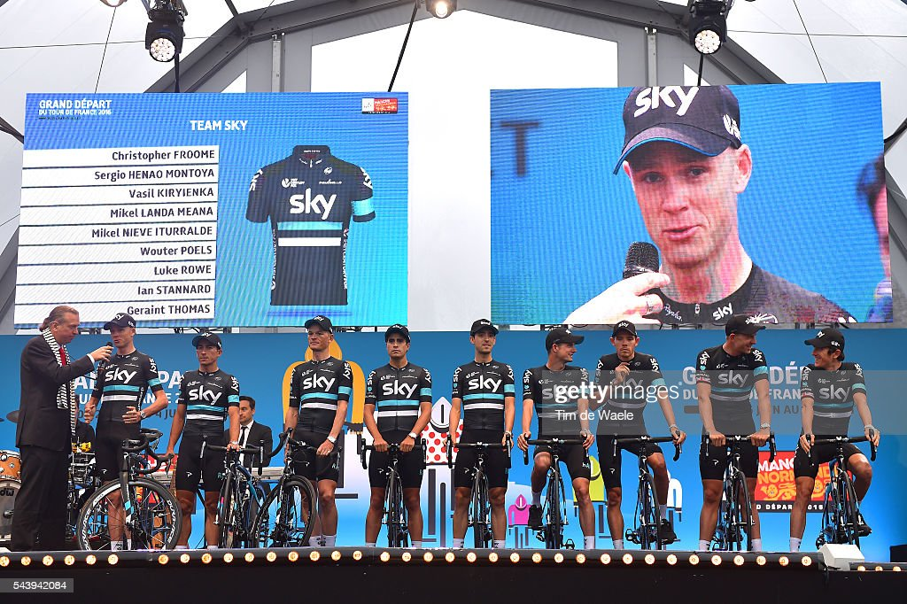 103rd Tour de France 2016 / Team Presentation Team SKY (GBR)/ Christopher FROOME (GBR)/ Sergio Luis HENAO (COL)/ Vasil KIRYIENKA (BLR)/ Mikel LANDA MEANA (ESP)/ Mikel NIEVE ITURRALDE (ESP)/ Wouter POELS (NED)/ Luke ROWE (GBR)/ Ian STANNARD (GBR)/ Geraint THOMAS (GBR)/ TDF /