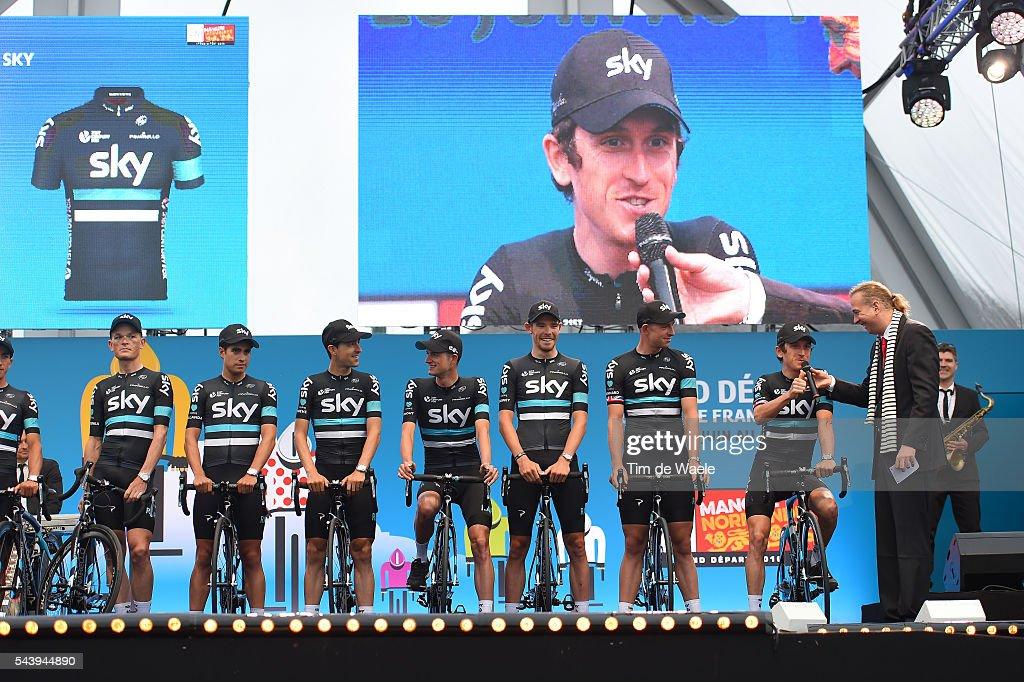 103rd Tour de France 2016 / Team Presentation Team SKY (GBR)/ Vasil KIRYIENKA (BLR)/ Mikel LANDA MEANA (ESP)/ Mikel NIEVE ITURRALDE (ESP)/ Wouter POELS (NED)/ Luke ROWE (GBR)/ Ian STANNARD (GBR)/ Geraint THOMAS (GBR)/ TDF /