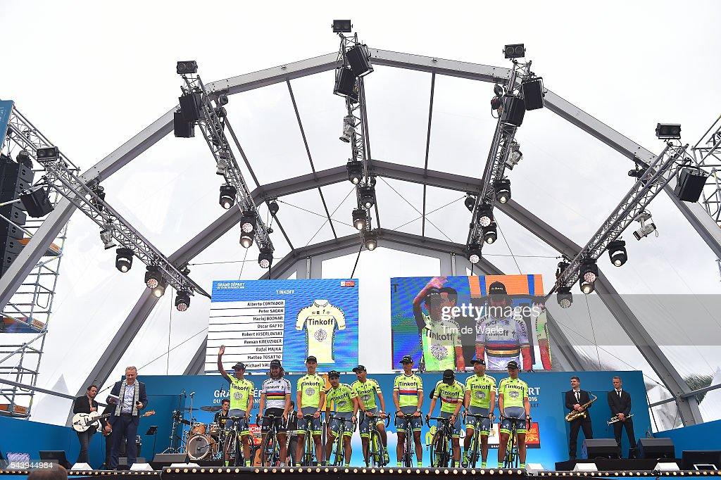 103rd Tour de France 2016 / Team Presentation Team TINKOFF (RUS)/ Alberto CONTADOR VELASCO (ESP)/ Peter SAGAN (SVK)/ Roman KREUZIGER (CZE)/ Maciej BODNAR (POL)/ Robert KISERLOVSKI (CRO)/ Oscar GATTO (ITA)/ Matteo TOSATTO (ITA)/ Michael VALGREN ANDERSEN (DEN)/ Mafal MAJKA (POL)/ TDF /