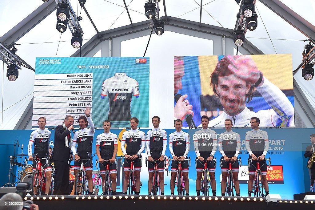 103rd Tour de France 2016 / Team Presentation Team TREK - SEGAFREDO (USA)/ Bauke MOLLEMA (NED)/ Fabian CANCELLARA (SWI)/ Markel IRIZAR ARANBURU (ESP)/ Gregory RAST (SWI)/ Frank SCHLECK (LUX)/ Peter STETINA (USA)/ Jasper STUYVEN (BEL)/ Edward THEUNS (BEL)/ Haimar ZUBELDIA AGUIRRE (ESP)/ / TDF /