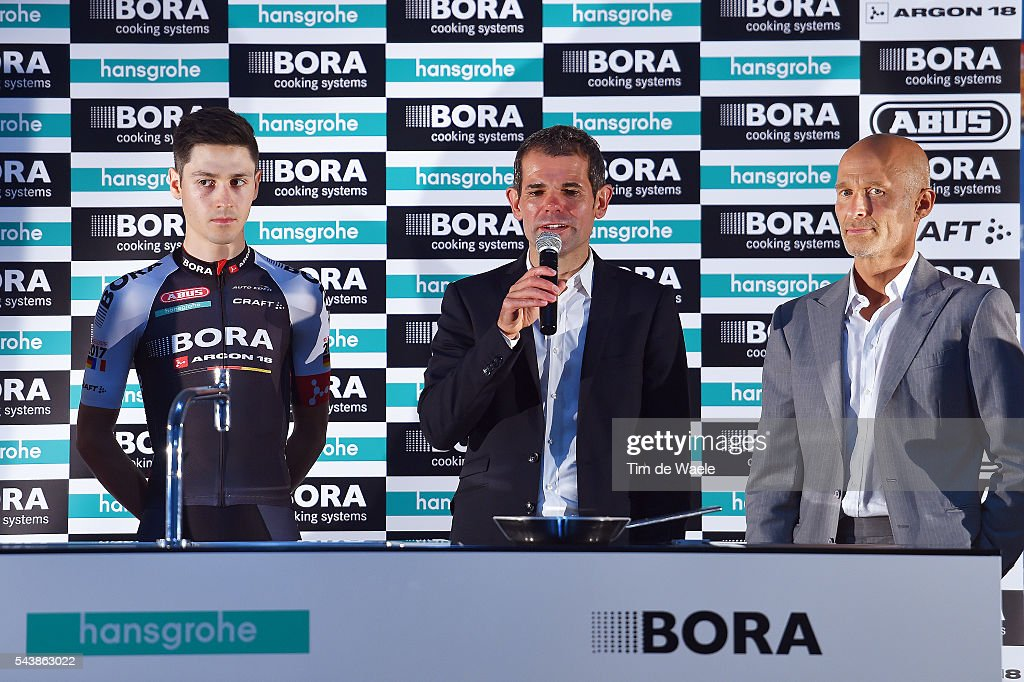 103th Tour de France 2016 / PC Team Bora Argon 18 Emanuel BUCHMANN (GER)/ Ralph DENK (GER) Team Manager / Willi BRUCK BAUER (GER) CEO Founder Bora / Press Conferance Team Bora Argon 18 (GER)/ TDF /