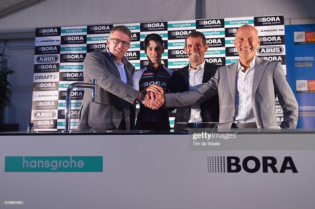 103th Tour de France 2016 / PC Team Bora Argon 18 Philippe HARINCK (BEL) Managing Director Hansgrohe / Emanuel BUCHMANN (GER)/ Ralph DENK (GER) Team Manager / Willi BRUCK BAUER (GER) CEO Founder Bora / Press Conferance Team Bora Argon 18 (GER)/ TDF /