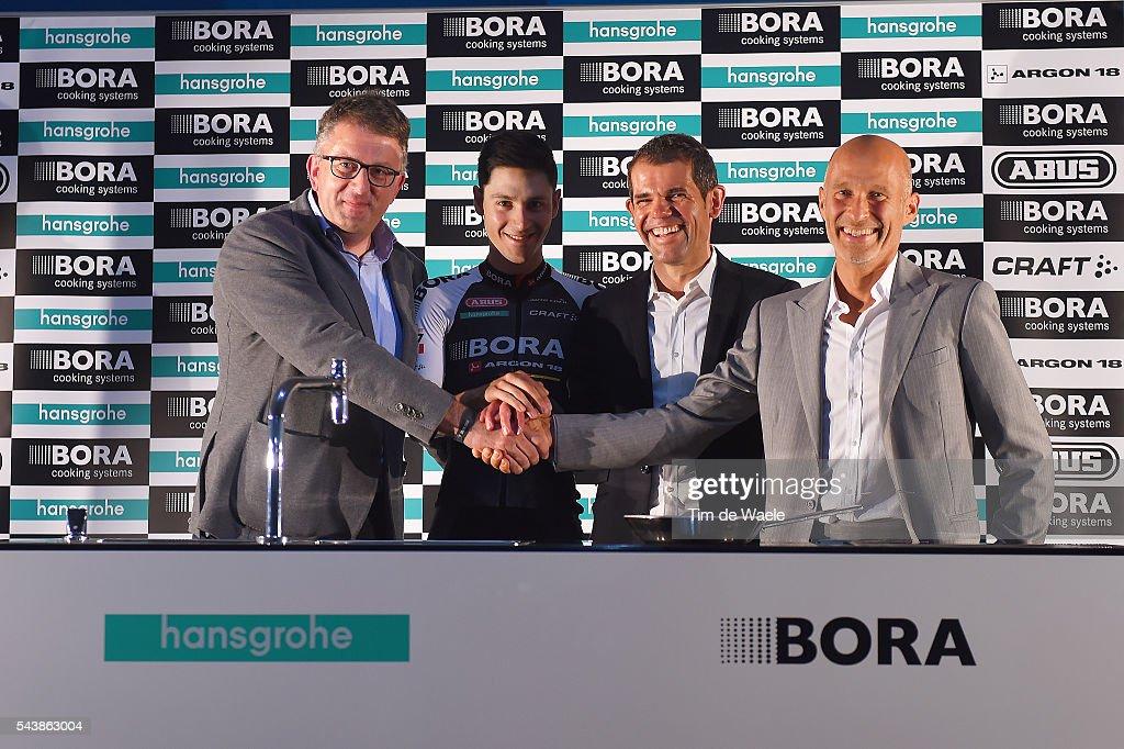 103th Tour de France 2016 / PC Team Bora Argon 18 Philippe HARINCK (BEL) Managing Director Hansgrohe / Emanuel BUCHMANN (GER)/ Ralph DENK (GER) Team Manager / Willi BRUCK BAUER (GER) CEO Founder Bora / Press Conferance Team Bora Argon 18 (GER)/ TDF /