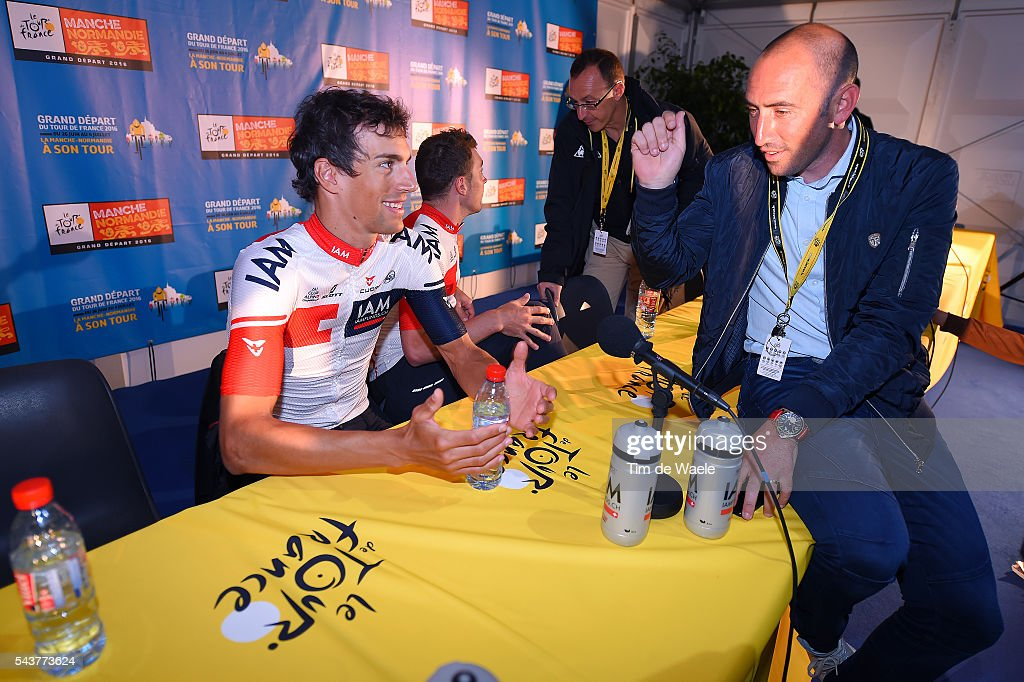 103th Tour de France 2016 / PC Team IAM Reto HOLLENSTEIN (Sui)/ Jerome PINEAU (Fra) Ex Pro Cyclist now TV journalist / Press Conference Team IAM Cycling (Sui) / TDF /