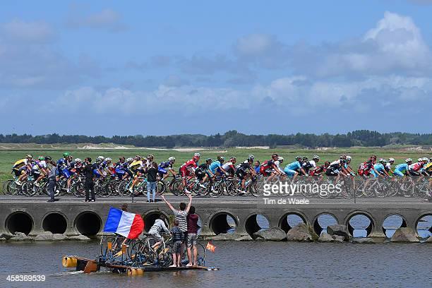 103th Tour de France 2016 / Stage 1 Illustration / Landscape / Peloton / Bridge / Fans / Public / Bike / MontSaintMichel Utah Beach SainteMarieDuMon...