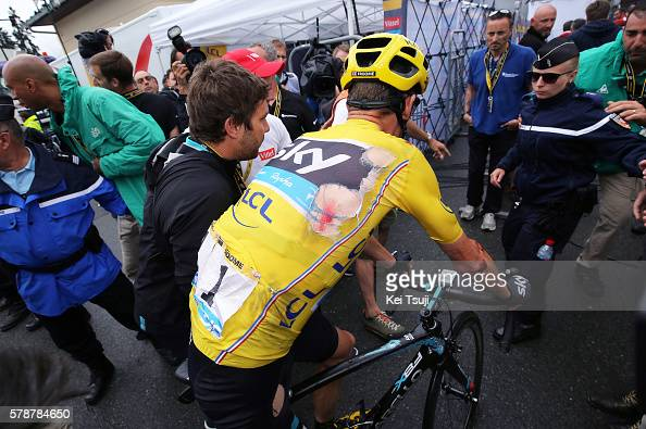 103th Tour de France 2016 / Stage 19 Arrival / Christopher FROOME Yellow Leader Jersey / Injury / Crash / Albertville SaintGervais Mont Blanc 1372m /...