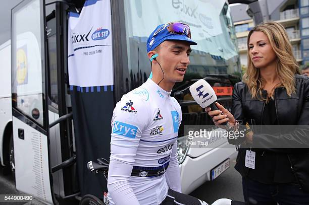 103th Tour de France 2016 / Stage 3 Julian ALAPHILIPPE Best White Young Jersey / Marion ROUSSE TV Journalist / Interview / Granville Angers / TDF /