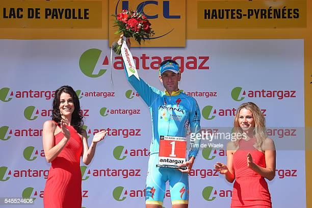 103th Tour de France 2016 / Stage 7 Podium / Vincenzo NIBALI Most Combative Rider / Celebration / Marion ROUSSE TV Journalist / L'IsleJourdain Lac de...