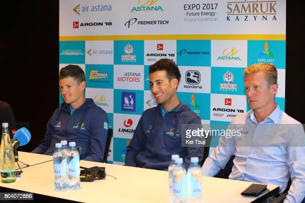 104th Tour de France 2017 / PC Team Astana Pro Team Jakob FUGLSANG / Fabio ARU / Alexandr VINOKOUROV Team Manager / Press Conference / Team Astana...
