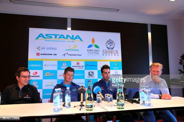 104th Tour de France 2017 / PC Team Astana Pro Team Jakob FUGLSANG / Fabio ARU / Alexandr VINOKOUROV Team Manager / Gervais RIOUX Founder of Argon 18...
