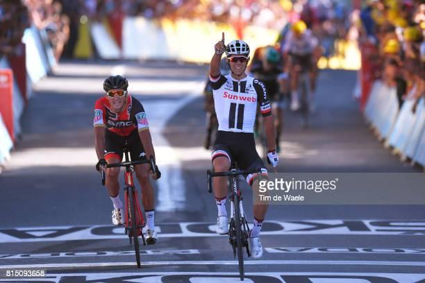 104th Tour de France 2017 / Stage 14 Arrival / Michael MATTHEWS Celebration / Greg VAN AVERMAET / Blagnac RodezCote de SaintPierre 563m / TDF /