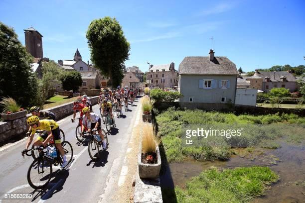 104th Tour de France 2017 / Stage 15 Peloton / Christopher FROOME Yellow Leader Jersey / Vasil KIRYIENKA / Saint Martin de Lenne City / Landscape /...
