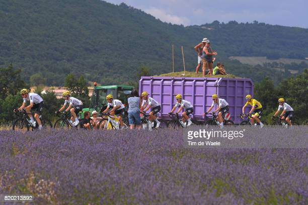 104th Tour de France 2017 / Stage 19 Landscape / Christopher FROOME Yellow Leader Jersey / Sergio Luis HENAO / Vasil KIRYIENKA / Christian KNEES /...
