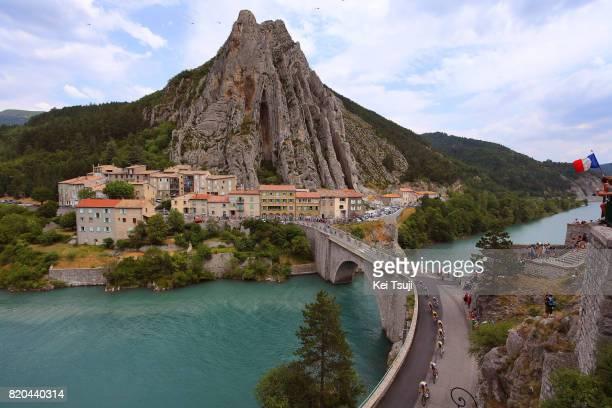 104th Tour de France 2017 / Stage 19 Peloton / Sisteron / Bridge / Landscape / Chris FROOME Yellow Leader jersey / Embrun Salon de Provence / TDF /