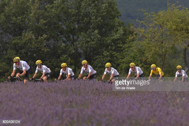 104th Tour de France 2017 / Stage 19 Peloton / Team Sky / Christopher FROOME Yellow Leader Jersey / Lavendel Flowers / Landscape / Vasil KIRYIENKA /...