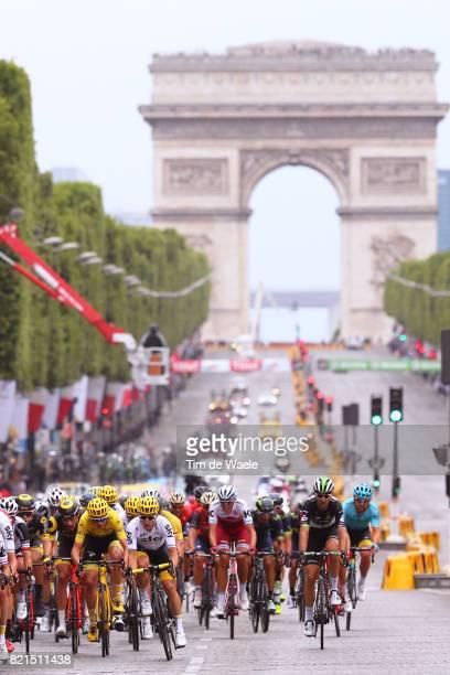 104th Tour de France 2017 / Stage 21 Peloton / Champs Elysees / Arc de Triomphe / Landscape / Christopher FROOME Yellow Leader Jersey / Montgeron...