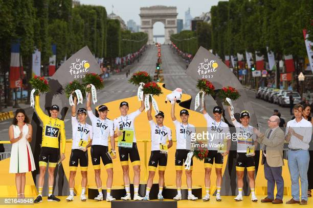 104th Tour de France 2017 / Stage 21 Podium / Best Team / Team Sky / Christopher FROOME Yellow Leader Jersey / Michal KWIATKOWSKI / Luke ROWE /...