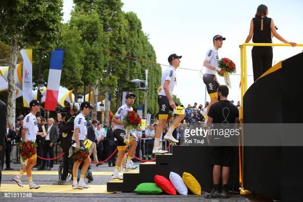 104th Tour de France 2017 / Stage 21 Podium / Christian KNEES / Luke ROWE / Michal KWIATKOWSKI / Sergio Luis HENAO / Vasil KIRYIENKA / Team Sky /...