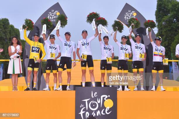 104th Tour de France 2017 / Stage 21 Podium / Christopher FROOME Yellow Leader Jersey / Sergio Luis HENAO / Vasil KIRYIENKA / Christian KNEES /...