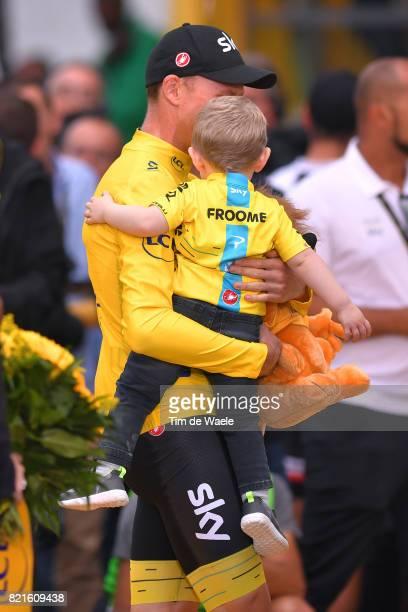 104th Tour de France 2017 / Stage 21 Podium / Christopher FROOME Yellow Leader Jersey / Kellan FROOME Son / Celebration / Montgeron Paris...
