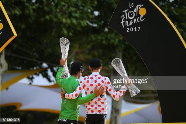 104th Tour de France 2017 / Stage 21 Podium / Michael MATTHEWS Green Sprint Jersey / Warren BARGUIL Polka Dot Montain Jersey / Renson / Celebration /...
