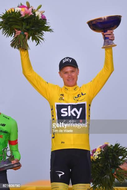 104th Tour de France 2017 / Stage 21 Podium / Rigoberto URAN / Christopher FROOME Yellow Leader Jersey / Romain BARDET / Celebration / Montgeron...