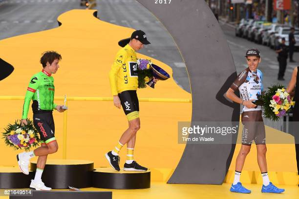 104th Tour de France 2017 / Stage 21 Podium / Rigoberto URAN / Christopher FROOME Yellow Leader Jersey / Romain BARDET / Montgeron Paris...
