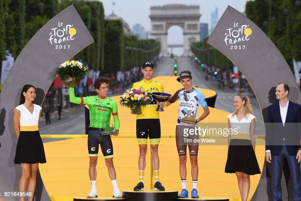 104th Tour de France 2017 / Stage 21 Podium / Rigoberto URAN / Christopher FROOME Yellow Leader Jersey / Romain BARDET / Etienne AMAURY President...