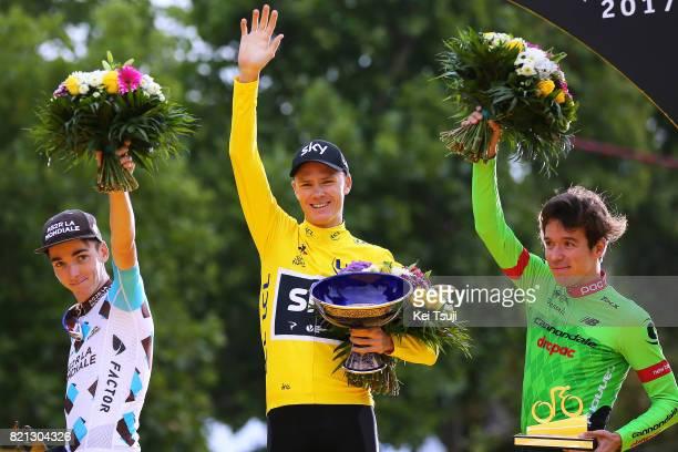 104th Tour de France 2017 / Stage 21 Podium / Romain BARDET / Christopher FROOME Yellow Leader Jersey / Rigoberto URAN / Celebration / Montgeron...