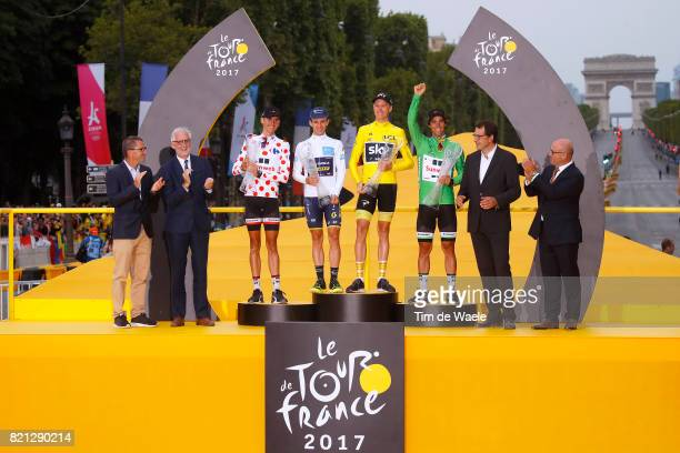 104th Tour de France 2017 / Stage 21 Podium / Warren BARGUIL Polka Dot Mountain Jersey / Simon YATES Best White Young Jersey /Christopher FROOME...