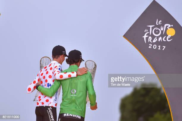 104th Tour de France 2017 / Stage 21 Podium / Warren BARGUIL Polka Dot Mountain Jersey / Michael MATTHEWS Green Sprint Jersey / Celebration /...