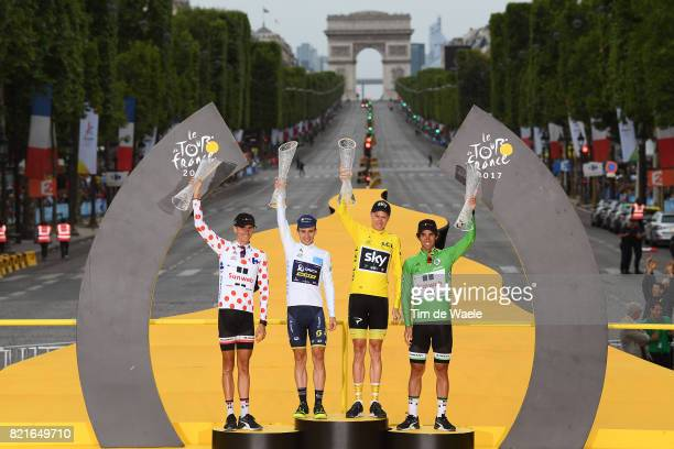 104th Tour de France 2017 / Stage 21 Podium / Warren BARGUIL Polka Dot Mountain Jersey / Simon YATES White Best Young Rider Jersey / Christopher...