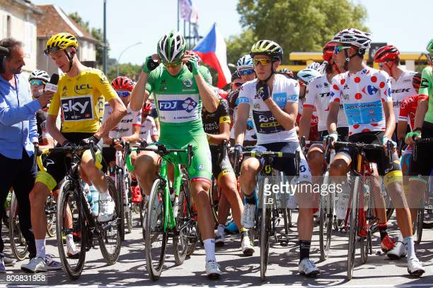 104th Tour de France 2017 / Stage 6 Christopher FROOME Yellow Leader Jersey / Arnaud DEMARE Green Sprint Jersey / Simon YATES White Best Young Rider...