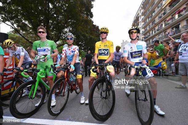 104th Tour de France 2017 / Stage 7 Arnaud DEMARE Green Sprint Jersey / Fabio ARU Polka Dot Mountain Jersey / Christopher FROOME Yellow Leader Jersey...