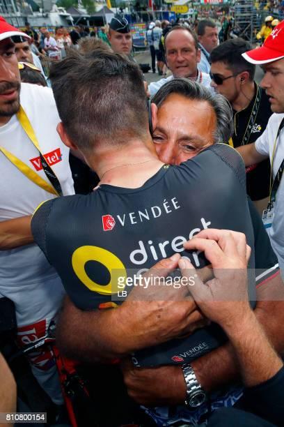 104th Tour de France 2017 / Stage 8 Arrival / Lilian CALMEJANE / JeanRené Bernaudeau Manager Team Direct Energy / Celebration / Dole Station des...